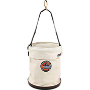 "Arsenal® 5763T Canvas Plastic Bottom Bucket - D-rings W/Top, 12-1/2""D x 15""H, White"