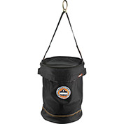 "Arsenal® 5650T Synthetic Leather Bottom Bucket - D-rings W/Top, 12-1/2""D x 17""H, Black"