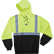 Ergodyne® GloWear® 8293 Class 2 Hooded Sweatshirt W/Black Front, Lime/Black, XL