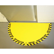 "DuraStripe® Full 180° Door Swing Sign, Black on Yellow, 34"" x 68"""