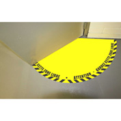 "DuraStripe® Half 90° Door Swing Sign, Black on Yellow, 21"" x 21"""