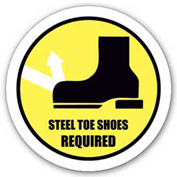 "Durastripe 16"" Round Sign - Steel Toe Shoes Required"
