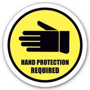 "Durastripe 20"" Round Sign - Hand Protection Required"