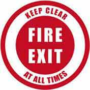 "Durastripe 20"" Round Sign - Fire Exit Keep Clear At All Times"