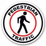 "Durastripe 32"" Round Sign - Pedestrian Traffic"