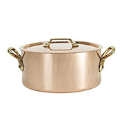 "De Buyer 6447.16 - Stew Pan, Round, W/Lid, Copper Exterior, Stainless Steel Interior, 6-1/4"" Dia."