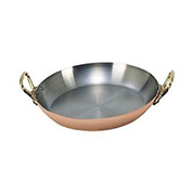 "De Buyer 6449.20 - Round Paella Pan, Copper Interior, Stainless Steel Inside, 8"" Dia."