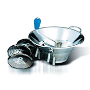 """Tellier X3 - Food Mill 5 Qt. 3 Grids 1-1/2, 2-1/2 And 4mm, Stainless Steel, 12"""" Dia."""
