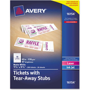 "Avery® Printable Tickets w/Tear-Away Stubs 16154, 8-1/2"" x 11"", Matte White, 200/Pack"