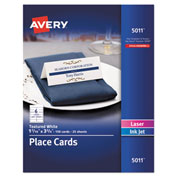 "Avery® Small Textured Tent Place Cards - White - 1-7/16"" x 3-3/4"" - 6 Cards/Sheet - 150/Box"