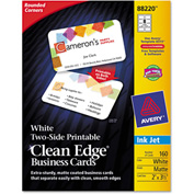 "Avery® Rounded Two-Sided Clean Edge Business Cards 88220, 2"" x 3-1/2"", White, 160/Pack"