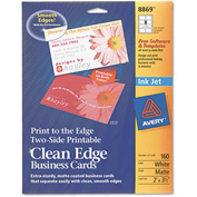 "Avery® Print-to-the-Edge 2-Sided Clean Edge Business Card 8869, 2"" x 3"", Matte, 160/Pack"