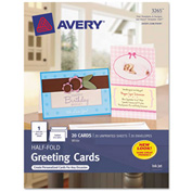 "Avery® Half-Fold Greeting Card, 5-1/2"" x 8-1/2"", Matte, White, 20 Cards/Pack"