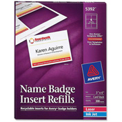 "Avery® Name Badge Insert Refills, 3"" x 4"", White, 300 Inserts/Box"