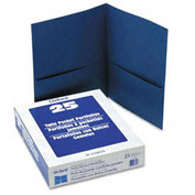 Twin Pocket Leatherette-Grained Portfolios, Royal Blue, 25/Box