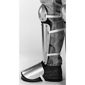"Ellwood Safety Knee-Shin-Instep Guards, Web Straps, Aluminum Alloy, 12""L x 5""W, 1 Pair"