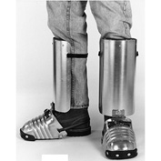"Ellwood Safety Men's Foot-Shin Guards, Rubber Toe Clip, Leather Strap, 5-1/2""W, Large, 1 Pair"