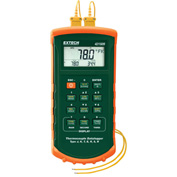 Extech 421509-NIST 7 Thermocouple Dual Input Datalogger WAlarm, Orange/Green NIST Certified