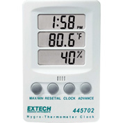 Extech 445702 Hygro-Thermometer Clock, White, Wall Mount, AAA Battery