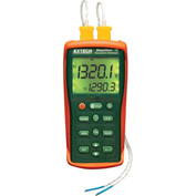 Extech EA15-NIST Dual Input Temperature Datalogger, Orange/Green NIST Certified