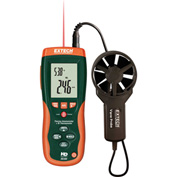 "Extech HD300 Thermo-Anemometer W/Built-In InfaRed Thermometer, Green/Orange, Vane Probe 8""L"