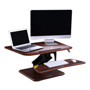 "FlexiSpot Adjustable Sit-Stand Wooden Desktop Workstation with 32""W Riser Platform - Mahogany"