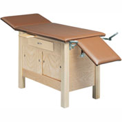 "Wooden Exam Table with Enclosed Cabinet, Drawer and Sliding Doors, 3-Section, 72""L x 24""W x 30""H"
