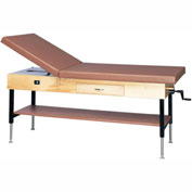 "Manual Hi-Low Upholstered Treatment Table with Shelf and Drawer, 78""L x 30""W x 25"" - 33""H"