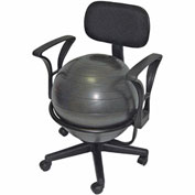 "CanDo® Metal Mobile Ball Chair with Arms, 18"" Dia. Ball"