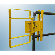 """FabEnCo XL Series Carbon Steel Yellow Clamp-On Self-Closing Safety Gate, Fits Opening 22-24.5"""""""