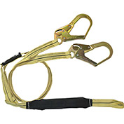 FallTech® 8242Y3L Arc Flash/Soft Pack 6' Shock Absorbing Lanyard, with 1 Loop & 2 Rebar Hooks