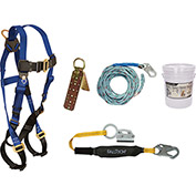 FallTech® 8593A Roofer's Kit with 7015 Harness, 3' Shock Absorbing Lanyard & Roof Anchor
