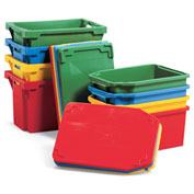 Schaefer Lid for Stack & Nest Tote FBD600 - Fits Container 44503 - Green