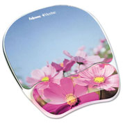 Fellowes Photo Gel Mouse Pad Wrist Rest w/Microban Protection, Pink Flowers Design - Pkg Qty 4
