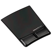 Fellowes Mouse Pad/Wrist Support w/Microban Protection, Leatherette Cover, Black - Pkg Qty 4