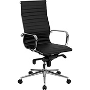 Flash Furniture Executive Chair with Arms - Leather - High Back - Black