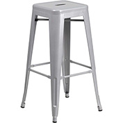Backless Barstool - Metal - Square - Silver - Pkg Qty 4