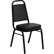 "Banquet Stacking Chair - Vinyl - 2-1/2"" Seat Cushion - Black - Pkg Qty 4"