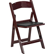 Flash Furniture Folding Chair with Vinyl Seat - Resin - Mahogany - Pkg Qty 4