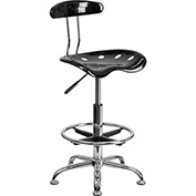 Drafting Stool with Backrest - Plastic - Black