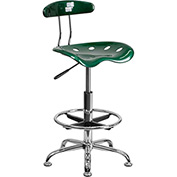 Drafting Stool with Backrest - Plastic - Green