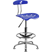 Flash Furniture Desk Stool with Back - Plastic - Blue