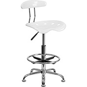Drafting Stool with Backrest - Plastic - White