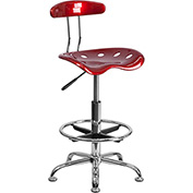 Drafting Stool with Backrest - Plastic - Red