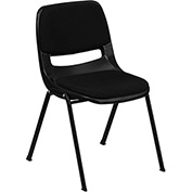 Ergonomic Shell Stack Chair with Padded Seat & Back - Plastic - Black - Hercules Series - Pkg Qty 4