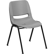 Ergonomic Shell Stack Chair  - Plastic - Gray - Hercules Series - Pkg Qty 4
