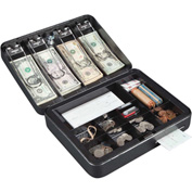 FireKing Hercules CB1209 Cash Box Keylock  8 Coin Compartment 1 Bill Tray 11-13/16x9-1/2x3-5/8
