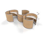 """ThinkPOD 3-Pack Double Half 60""""D 49""""H Maple / Maple Panels"""