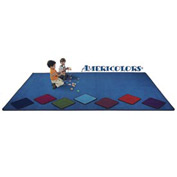 Children Educational Rugs AMERICOLORS 12X8 Oval Blue Bird