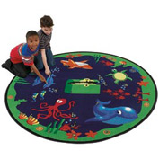 Children Educational Rugs SEA HUNT 8 FT Round